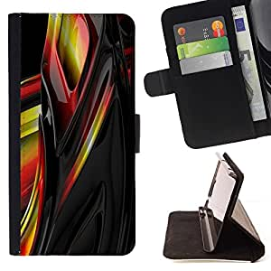 Momo Phone Case / Flip Funda de Cuero Case Cover - Liquid Metal Amarillo Negro Rojo Resumen de Sharp - Huawei Ascend P8 Lite (Not for Normal P8)