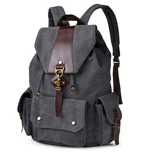 Vbiger Canvas Backpack Casual Shoulder Bag Large Capacity Travel Daypack for Men and Women (Black)