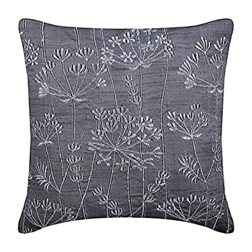 Marvelous Handmade Charcoal Grey Throw Pillows Cover Willow Design Zardozi Embroidered Pillows Cover Pillow Covers 18X18 Square Silk Pillowcase Floral Machost Co Dining Chair Design Ideas Machostcouk