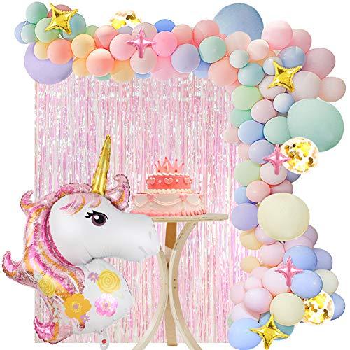 vamei 136 Piezas Unicornio Decoraciones Cumpleanos de Fiesta para Ninos, Globos de Unicornio Cumpleanos,Cortina de Fiesta, Globo de Cumpleanos Individuacion para Ninos Ninas