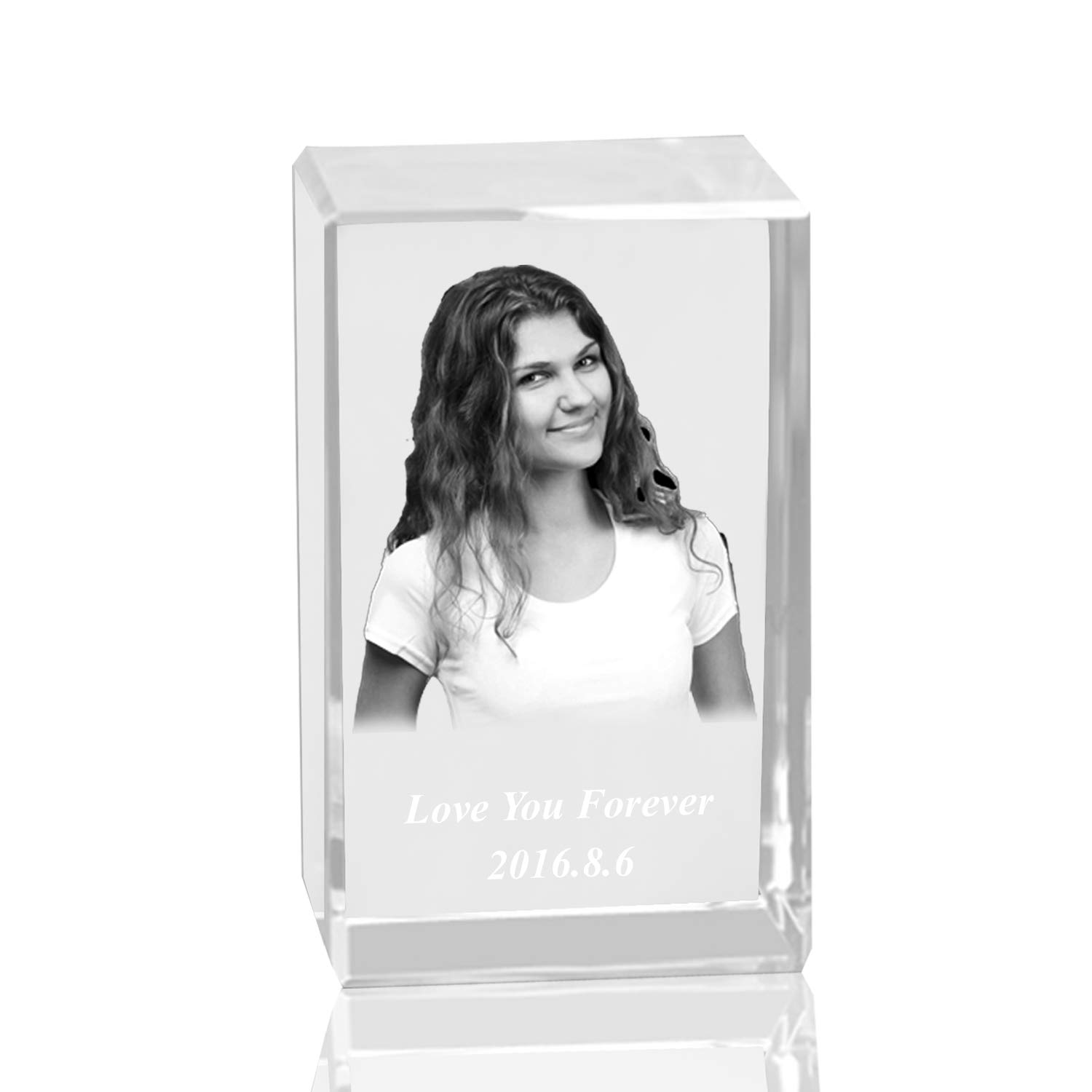 674f8720d97b Amazon.com  Qianruna Personalised Custom 2D 3D Laser Engraving Photo  Crystal Cube Etched Glass Picture Block Paperweight for Wedding and  Birthday Gifts  ...