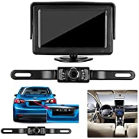 Emmako rear view Camera and Monitor Kit for Car,Universal Waterproof reverse License Plate Car/vehicle Backup Camera with 4.3 Inches LCD Monitor