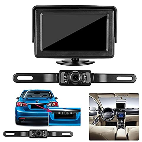 Emmako backup Camera and 4.3'' display Monitor Kit Waterproof License Plate rear view camera system wire a single power Rear view or Fulltime View optional with Night Vision for Car (Backup Camera Multi Input)
