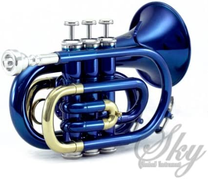 Sky Band Approved Ocean Blue Lacquer Brass Bb Pocket Trumpet with Case, Cloth, Gloves and Valve Oil, Guarantee Top Quality Sound, Blue