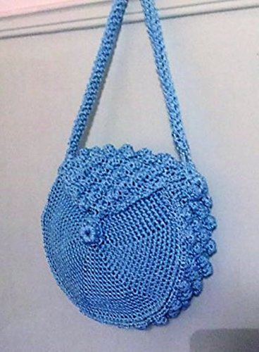 Purse Handles Macrame (Women Crochet Round Bag Macrame Cord Light Blue Color Bags&Purses)
