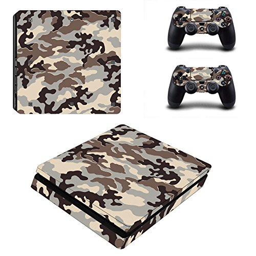 Military Grey Camouflage Sticker For Playstation4 PS4 Console + 2 Controller Cover C3