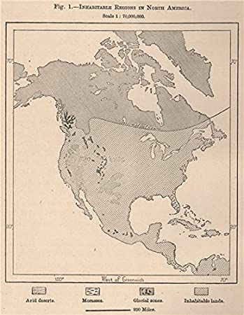 Amazon.com: Inhabitable Regions in North America - 1885 ...