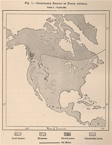 Amazon.com: Inhabitable regions in North America - 1885 - old map ...