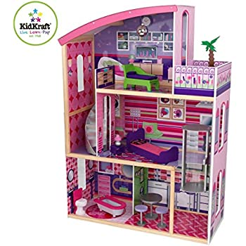 amazon com kidkraft wooden modern dream glitter dollhouse fits