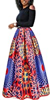 Two Pieces Dresses for Women Floral African Maxi Skirt with Pockets Off Shoulder Top Blouse S-6XL