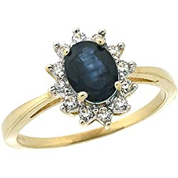 10k Yellow Gold Natural Blue Sapphire Ring Oval 7x5mm Diamond Halo, sizes 5-10