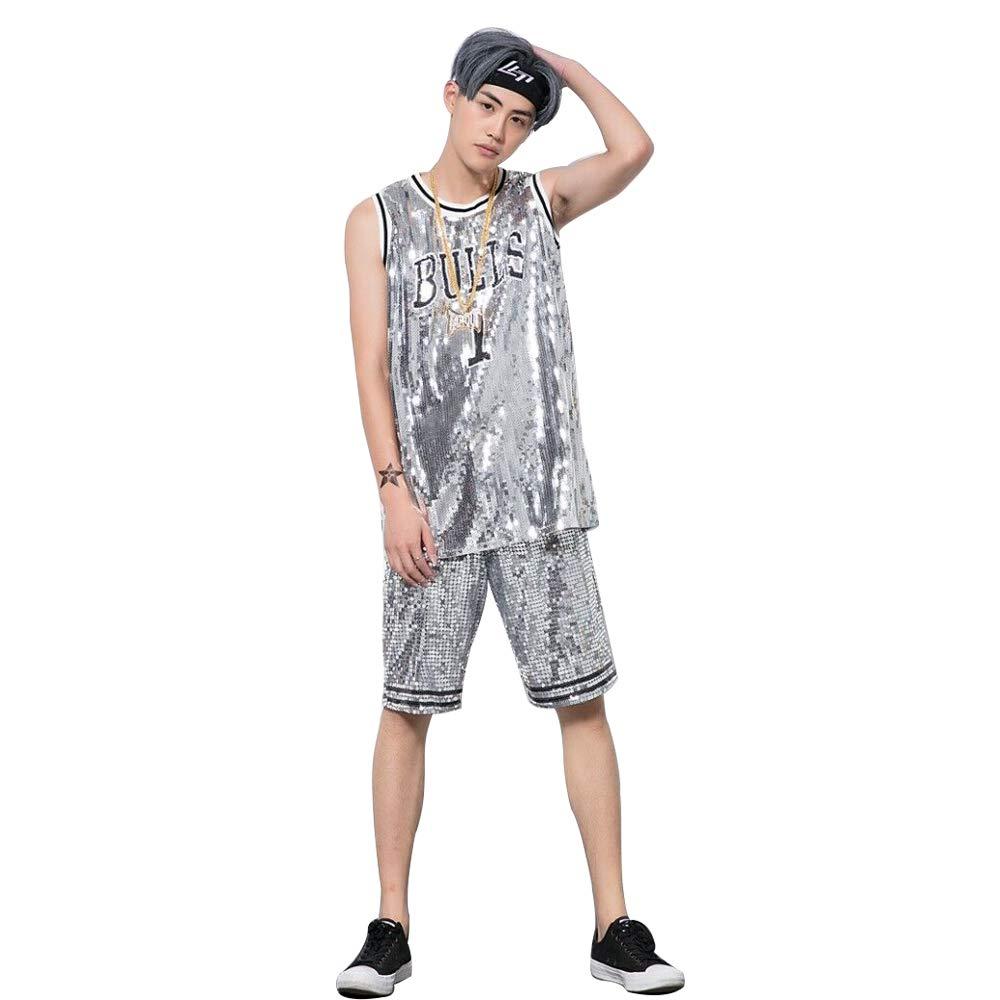 unbrand Hombres y Mujeres Graffiti Vestido sin Mangas DS Hip Hop Traje de Jazz Street Dance Bull Lentejuelas Baloncesto Chaleco Camiseta de Gran tama/ño