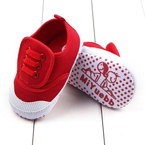 ❆HUHU833 Kinder Mode Baby Schuhe Soft Sole, Schuhe Baby Kleinkind Weiche Anti Rutsch Turnschuhe beiläufige Schuhe Junge (0~18 Month) Rot