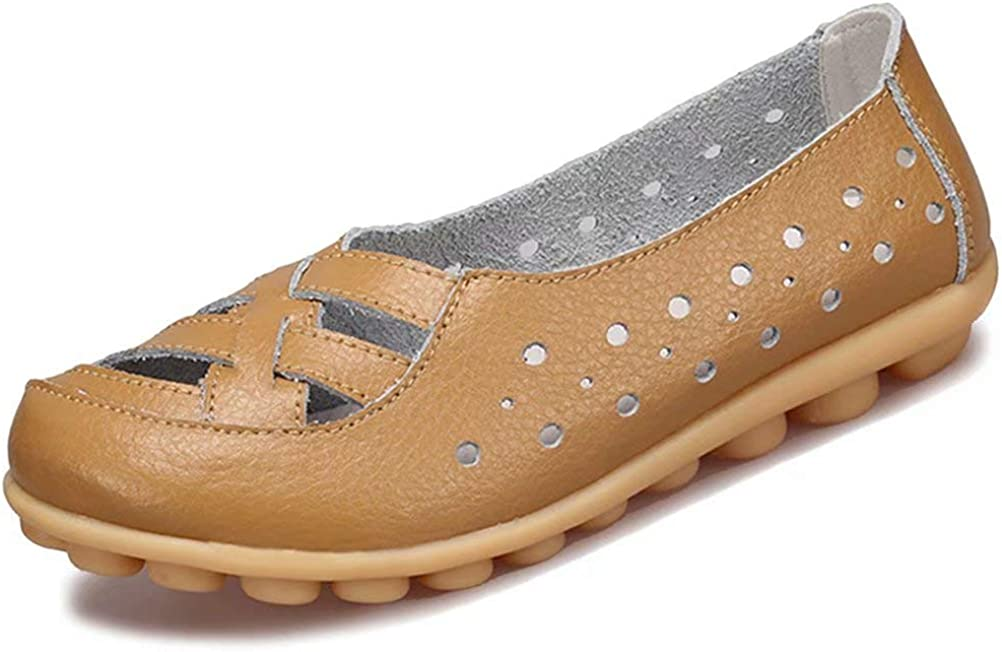 Fangsto Women's Leather Loafers Flats Sandals Slip-On