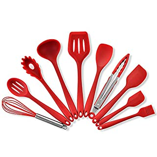 Silicone Heat Resistant Kitchen Cooking Utensil 10 Piece Cooking Set Non,Dinnerware Kit w/Heat-resistant Slotted & Flexible Spatula Spoon Soup Ladle Serving Spoons Whisk Basting Brush (Red)