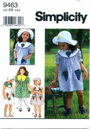 baa60c193 Simplicity 9463 - Patrón de costura para vestido de niñas y sombrero tamaño  2 - 4: Amazon.es: Juguetes y juegos