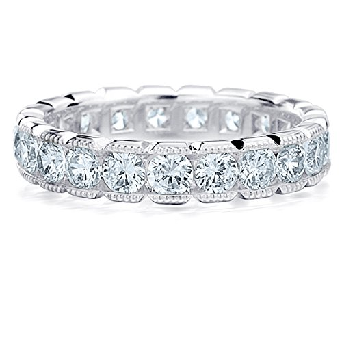 Platinum Diamond Eternity Wedding Band with Milgrain (2.0 cttw, F-G Color, VS1-VS2 Clarity)