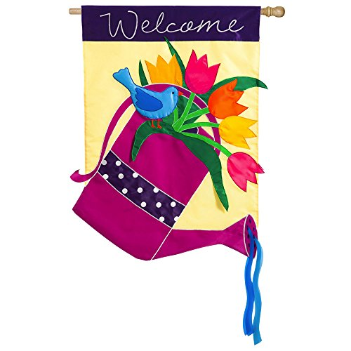 Welcome Watering Can Applique House (44 Decorative Flag)