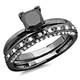 Dazzlingrock Collection 1.50 Carat (ctw) Black Rhodium Plated 10K Black & White Diamond Ring Set 1 1/2 CT, White Gold, Size 6