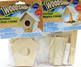 childrens wood building kit - Set of 2 Kids DIY Woodshop Bird House and Bird Feeder - Easy To Assemble Activity Sets for Children