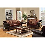HOMES: Inside + Out Reyes Traditional Style 3 Piece Sofa Set, Burgundy For Sale