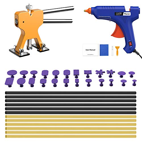 POWPDR Paintless Dent Repair Tools Auto Car Body Dent Removal Kit, Golden Dent Lifter, 100W Glue Gun, Strong Glue Sticks, 41pcs Dent Remover Tool Suit for Door Ding Hail Dent Puller Home DIY Repair