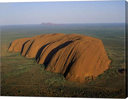 Aerial View of a Rock Formation. Ayers Rock, Uluru-Kata Tjuta National Park, Australia Canvas Art Wall Picture, Gallery Wrap, 15 x 12 inches
