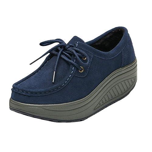 Yudesun Atlético Comodidad Zapatillas Mujer - Moda Mocasines Cuero Gamuza Plataforma Casual Zapatos Deporte Aptitud Tacón De Cuña: Amazon.es: Zapatos y ...
