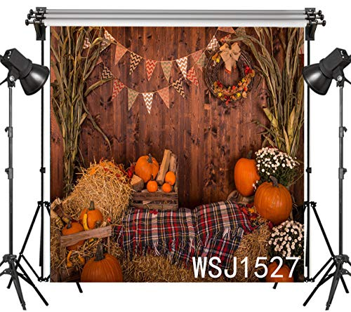 LB 8x8ft Halloween Photo Backdrop Pumpkin Crops Straw Thanksgiving Photography Background Party Studio Prop Customized WSJ1527 -