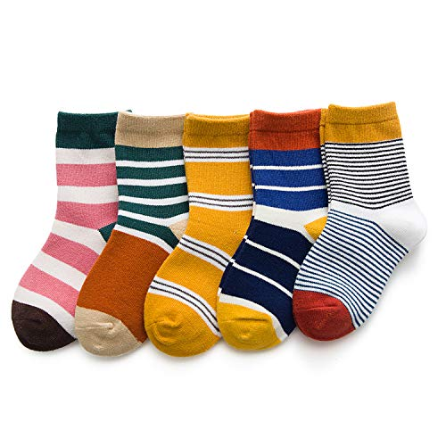 (Unisex Baby Toddler Socks Girls Boys Socks Cartoon Animals Winter Cotton Socks for Babies 5 Pairs(Stripe,S(1t-3t)))