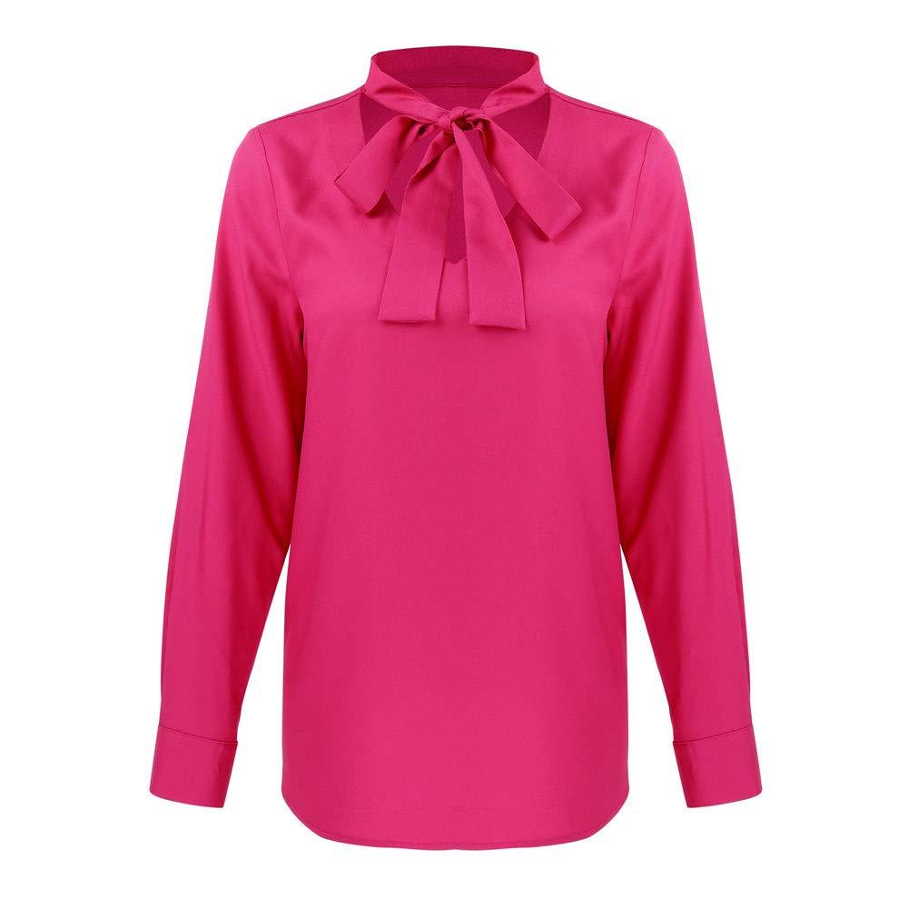 Qingsiy Camisas Arco Manga Larga para Mujer Tallas Grandes Moda ...