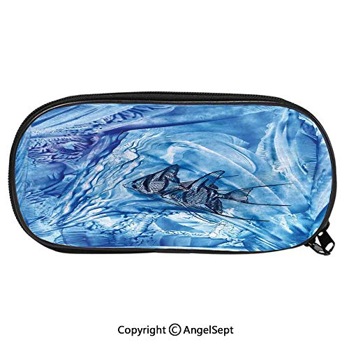 Big Fish Cymbals - 473D Printing Pattern Pencil CaseSmall Fish in Creepy Snow Cover Ice Crystal Labyrinth Aquatic Theme for Children Teenager Pen Box Pencil Pouch Desk for Boys and GirlsBlue