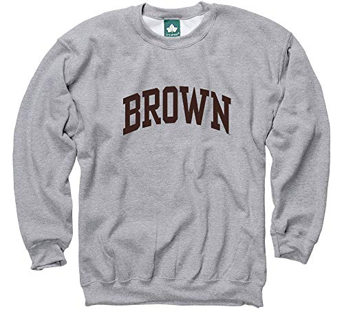 (Ivysport Brown University Crewneck Sweatshirt, Classic, Grey,)