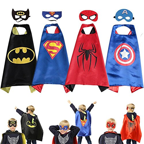 Superhero Dress up Costumes Kids Cartoon Capes Set with Masks for Party Boys Birthday -