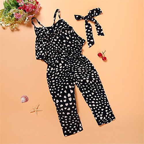 Kids Tales Hot Summer Little Baby Girls Love Heart Straps Jumpsuits 2Pcs Black 7(7) by Kids Tales (Image #1)