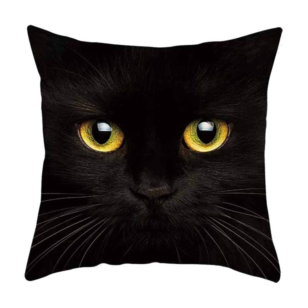 YOUNICER Lindo coj/ín para Gato Cubre Protectores Funda de Almohada Cuadrada Accesorios de decoraci/ón del hogar 45 cm x 45 cm