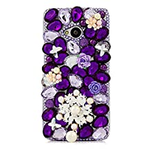 KAKA(TM) Pearls Snowflake Butterfly Style Bling Purple Crystal Rhinestone Clear Back Cover Hard Case for HTC One 801e HTC M7