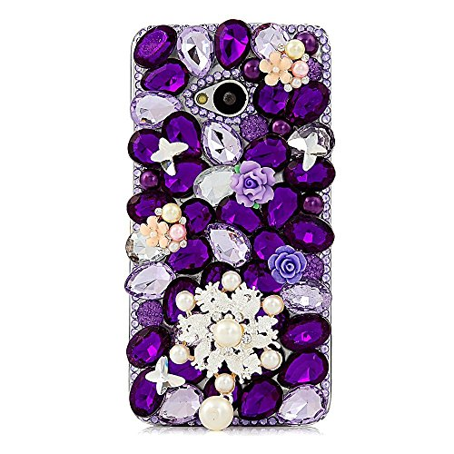 KAKA(TM) Pearls Snowflake Butterfly Style Bling Purple Crystal Rhinestone Clear Back Cover Hard Case for HTC One 801e HTC M7 (Poinsettia Pearl)