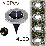 Lljin 3Pcs Solar 4 LED Outdoor Path Light Spot Lamp Yard Garden Lawn Waterproof