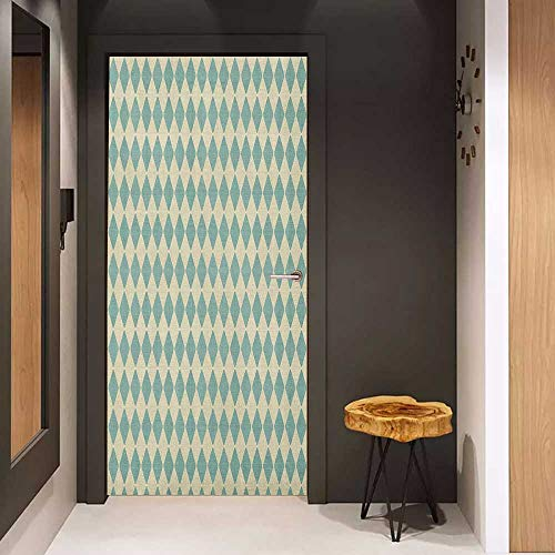 Onefzc Door Wallpaper Murals Geometric Rhombus Pattern with Retro Design Inspirations Vintage Argyle Arrangement WallStickers W30 x H80 Teal and Beige ()