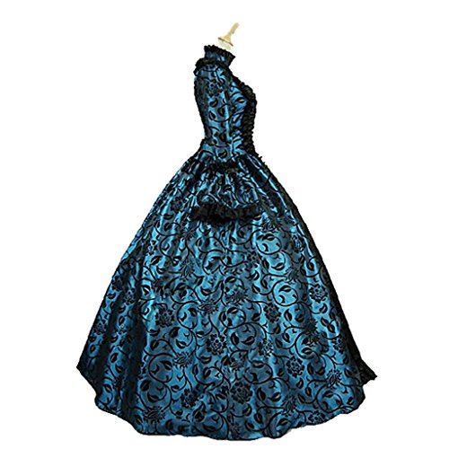 1791's lady Women's Victorian Rococo Dress Inspiration Maiden Costume NQ0032 (XL:Height65-67'' Chest42-43'' Waist33.5-35'', Black&Blue) by 1791's lady (Image #3)
