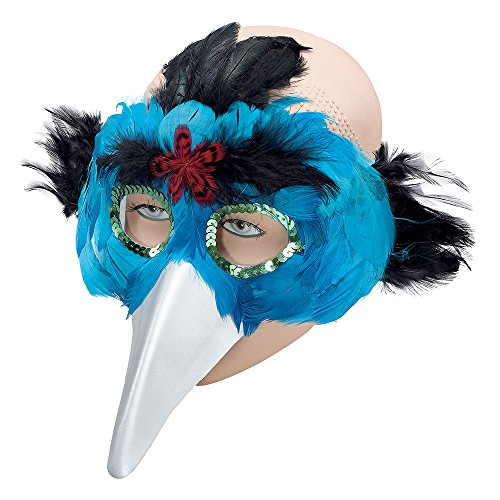 Bristol Novelty EM078 Bird Feather Eye Mask with Beak, Turquoise, One Size