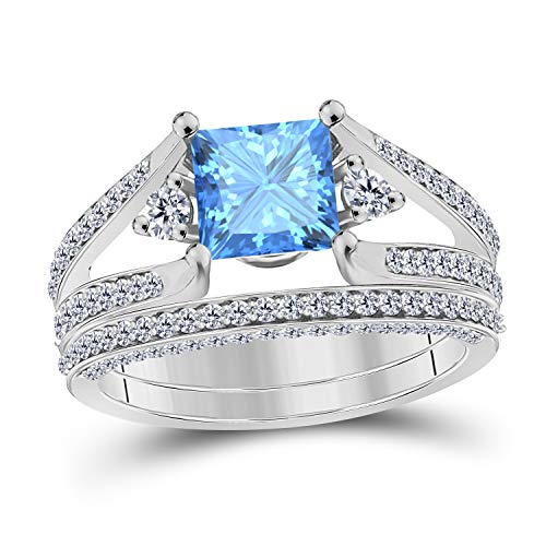 Antique 2pcs Wedding Ring Set 3.25 Ct Lab Created Blue Topaz Princess Cut Engagement Ring Set 14K White Gold Over Bridal Ring Set for Women's Jewelry