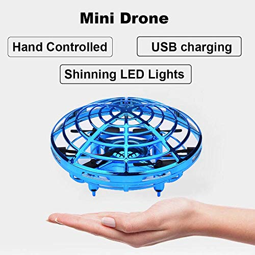 zerkar Flying Ball Mini Drone Toy Hand-Controlled Drone 360° Rotating and Shinning LED Lights Flying Toys Interactive Infrared Induction Helicopter Ball for Boys and Girls Kids Gifts (Blue) by zerkar (Image #1)
