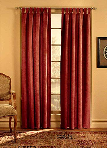 Suede Tab Top Window - CHF & You Ultra Suede Tab Top Window Curtain Panel, Red, 50-Inch X 95-Inch