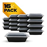 Fitpacker SMALL Meal Prep Containers - Plastic Microwavable Stackable Reusable Storage (16oz - Set of 16)