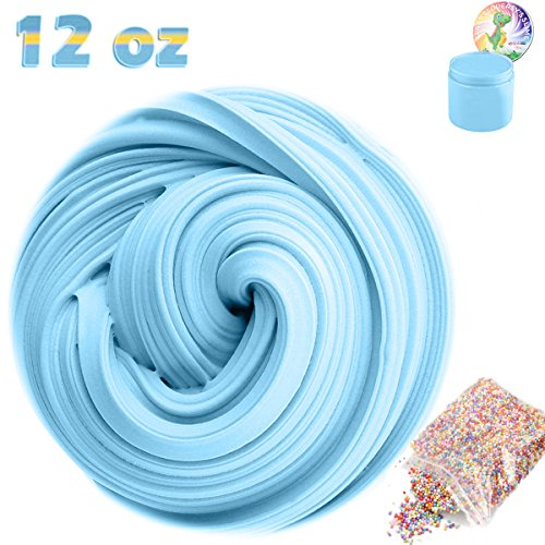 Giant Foam Ball (SLOUEASY - Baby Blue 12 oz Fluffy Slime with Foam Balls - Non-sticky Hand Jumbo Fluffy Floam Slime Putty Stress Relief Toy Scented Sludge Slime Toy for Kids Adults Fun Slime toy)