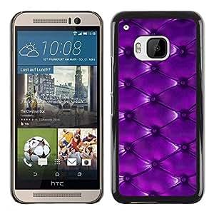 FECELL CITY // Duro Aluminio Pegatina PC Caso decorativo Funda Carcasa de Protección para HTC One M9 // Purple Leather Pattern Button