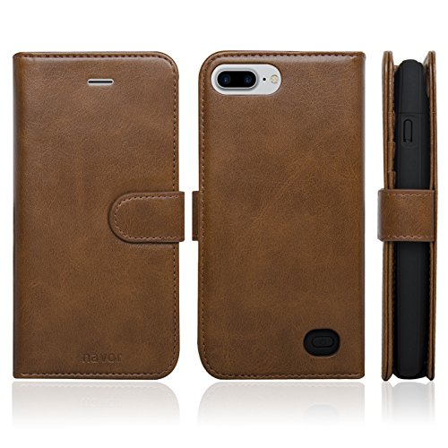 Navor RFID Folio Wallet Magnetic Detachable Power Battery Case 4200mAh for iPhone 7 Plus / 6 Plus / 8 Plus [5.5 Inch] - Brown