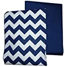 Baby Doll Bedding Chevron and Solid Crib Sheets, Navy